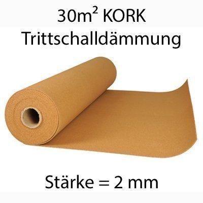 Korkrolle zur Trittschalldämmung - 30m x 2mm - Wärmeisolierend - Hochelastisch - Schadstofffreier Rollkork - Rollenkork als Dämmunterlage, Parkett-Unterlage,