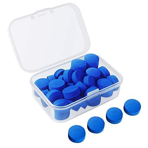 30 piezas de consejos de billar de piscina Consejos de reemplazo de billar de billar de 12 mm con caja transparente para billar de snooker (consejos de cue azul)