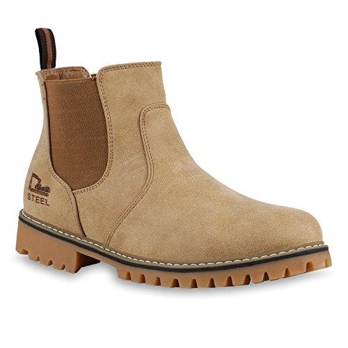Chelsea Boots Herren Profil Sohle Outdoor Schuhe Lederoptik Khaki