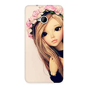 Cute Pink Rose Doll Back Case Cover for HTC One M7