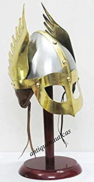 THORINSTRUMENTS( with Device) Medieval Mask Viking Helmet Replica Armor Warrior Helmet With Wooden Stand And L