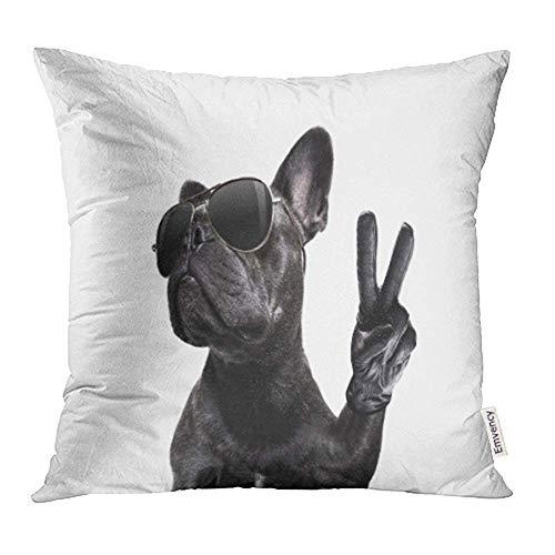Dekokissenbezüge Cases Coole Posing Französische Bulldogge mit Sonnenbrille Aussehendes Modell mit Peace Victory Print Dekorative Kissenbezüge 45 cm x 45 cm (18