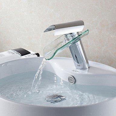 Furesnts Moderne home Bad und Küche Wasserhahn im Glacier Bay Design Glas Auswurfkrümmer Wasserfall Waschbecken Armaturen,(Standard G 3/8 Universalschlauch Ports) (Glacier Bay Bad Wasserhahn)