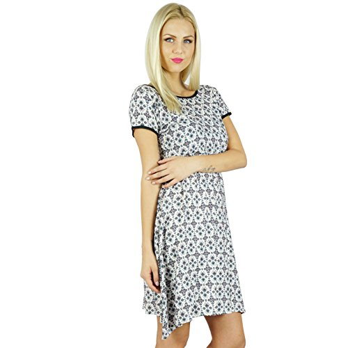 Bimba femmes Imprimé Rayon Dress Vêtements décontractés Bohême Robe droite Blanc