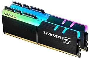 G.SKILL F4-3200C16D-16GTZR Trident Z RGB Series 16 GB (8 GB x 2) DDR4 3200 MHz PC4-25600 CL16 Dual Channel Memory Kit - Black with full length RGB LED light bar