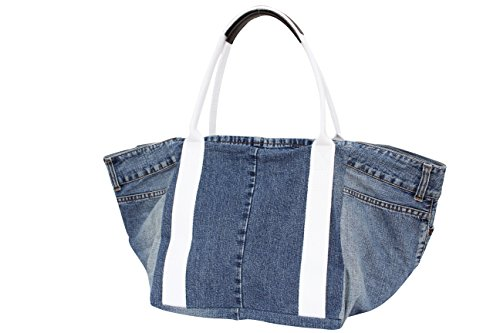 AMBRA Moda, Borsa tote donna XX-Large Jeans weiß Henkel