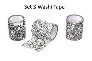 Kikkerland Colour Your Own Washi Tape Large Set 3