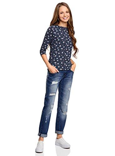oodji Collection Damen T-Shirt mit Druck und 3/4-Ärmeln Blau (7940F)