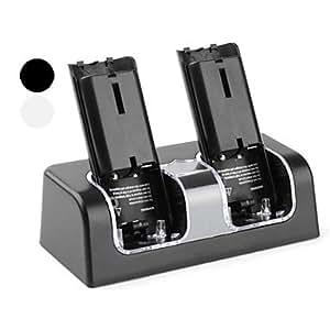 Double station de recharge USB avec 4 piles rechargeable pour Wii (2800mAh, couleurs assorties) , Noir