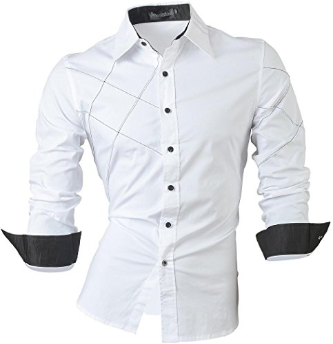jeansian Uomo Camicie Maniche Lunghe Moda Men Shirts Slim Fit Causal Long Sleves Fashion 2028 White L