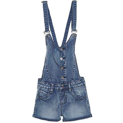 Mädchen Latz-Hose Dungarees Jeans Shorts Röhre Super Skinny Stretch Overal 21273, Farbe:Blau;Größe:176