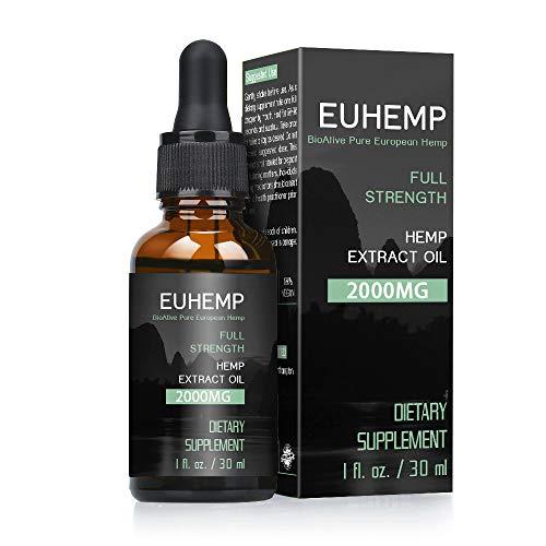 EUHEMP Hemp olio gocce 2000MG, piena forza, fatto con la canapa coltivato in natura, non-OGM, senza...