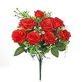 Kunstblumenstrauß aus Seidenblumen, Rosenstrauß, fühlt sich an wie echt, 12Blütenköpfe, für Blumen-Arrangements auf Partys und Hochzeiten rot