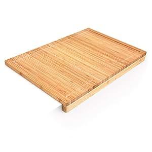 Relaxdays Planche à découper en bambou Tranchoir Planchette ustensile de cuisine avec rigole pour le jus et rebord couteau plan de travail stable H x l x P: 5 x 56 x 38 cm, nature