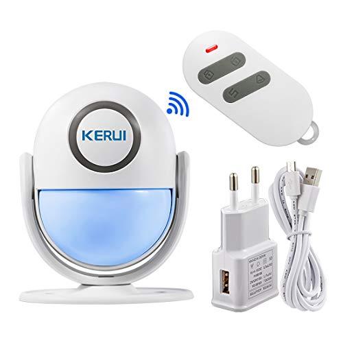 KERUI PIR Bewegungsmelder Alarm mit Fernbedienung WiFi Alarmanlage für Haus einbruchschutz 125 db Sirene, Kabelloser Alarm System Infrarot Bewegungssensor Erweiterbar Kompatible mit Alexa
