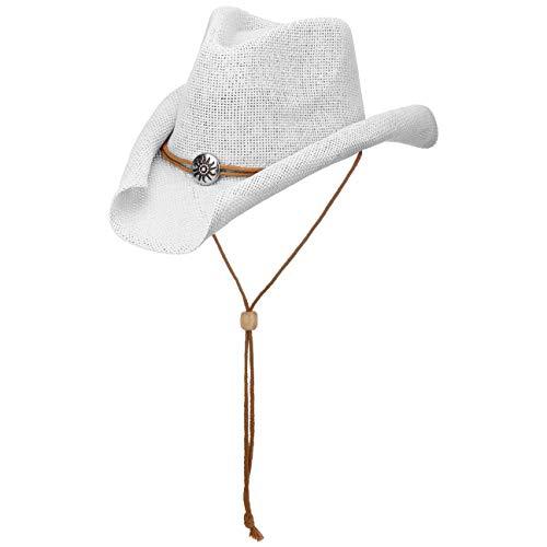 Lipodo Yeehaw Kinder Cowboyhut | Westernhut | Kinderhut aus Stroh (Papierstroh) | Sommerhut mit Kinnband | Strohhut Frühjahr/Sommer | Hut weiß 53-55 cm (Mädchen Hut Cowboy)