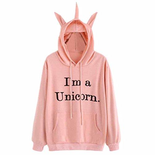 Sudadera Unicornio Mujer,Invierno Mujer Sudadera con Capucha de Manga Larga Camiseta (M, Rosa - I'm a Unicorn)