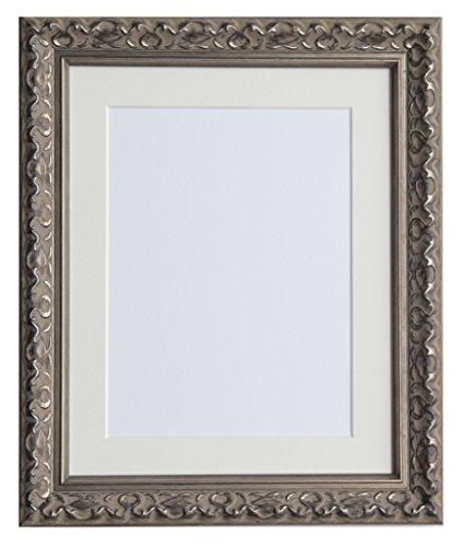 Tailored Frames-Vienna Silber Vintage Shabby Chic Bilderrahmen Größe 40,6x 30,5cm für A4mit Antik weißem Passepartout