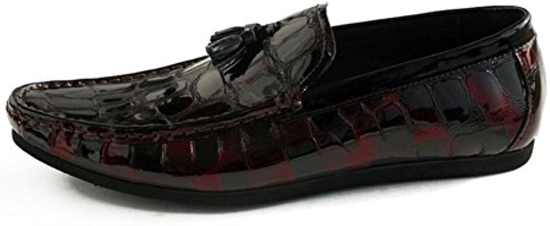 GLSHI Hombres Oxford Flats Zapatos Charol Cuero Casual Borlas Zapatos Conducción Snake Stripe Cuero Capa De Cuero...