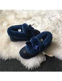 JUWOJIA La Mujer Botas De Nieve De Invierno Bowknot Moda Calzado Casual,Azul,36