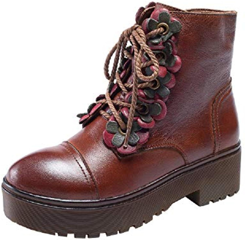 79ade00ac6833 ZHRUI Femmes Martin à Bottes Fleur Block Zipper Cuir Chaussures à Martin  Lacets (coloré
