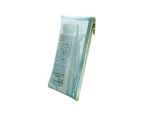 1PCS Große Kapazität tragbar Make-up Mesh Bag Kosmetik Organizer Container Halter Tasche mit Reißverschluss für Reisen blau blau (Halter Dot Mesh)