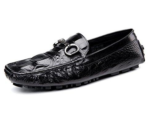 WZG Die neuen Krokodilherrenschuhe Low-England-Männer Leder Freizeitschuhe faule Schuhe Peas Schuhe zu helfen, Schuhe Fahr Black
