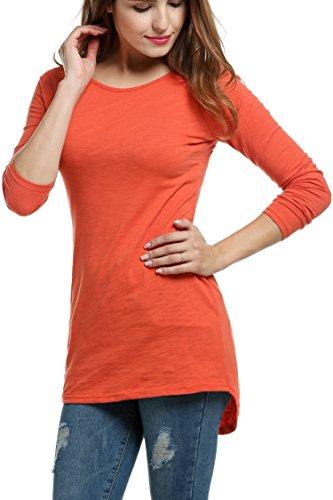 Meaneor Damen Langarm Shirt Basics Shirt Longshirt Tunika Bluse T-Shirt Baumwolle Oberteil Asymmetrisch, Braun, EU 38(Herstellergröße: M) (Gerippte Langen Baumwolle Ärmeln)