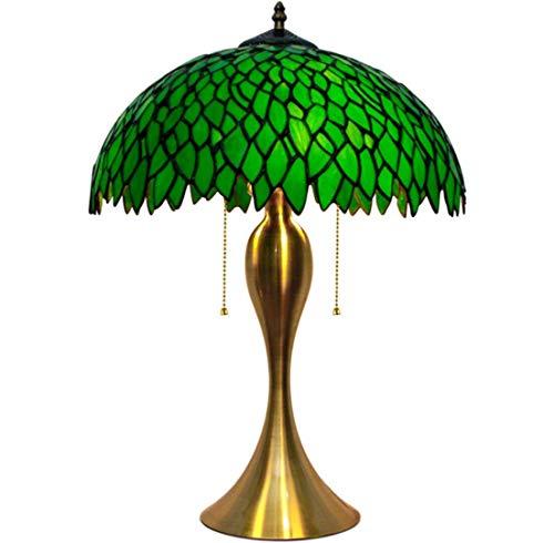JKCWIN Tiffany Stil Tischlampe 12 Zoll Kreative sgrün Glas Lampenschirm Zinklegierung Basis traditionelle Nachttisch Lampe geeignet für Schlafzimmer Wohnzimmer (Traditionellen Nachttisch)