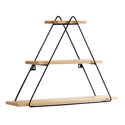 Zhen guo scaffale galleggiante in legno stile industriale e staffe nere scaffale a muro scaffale montato a parete organizer schermo a triangolo regolare a 3 strati