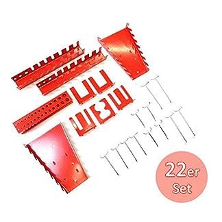 Portaherramientas para montaje en pared, capacidad para 22 piezas, color rojo y plateado