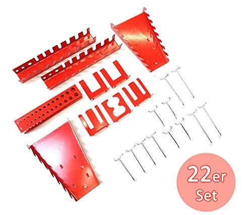 Werkzeughalter Sortiment, Haken und Halterungen 22 Teile Set aus Metall in Rot und Silber für Werkzeugwände Lochung 30 mm.