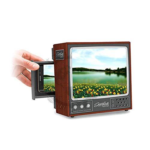 AOLVO HD Bildschirmlupe im Retro-Stil, 20,3 cm (8 Zoll) TV-Handy-Design mit faltbarem Halterungsständer, DIY 3D Mini Mobile Bildschirmlupe - 2-fache Vergrößerung - Antireflex - schützt Ihre Augen -