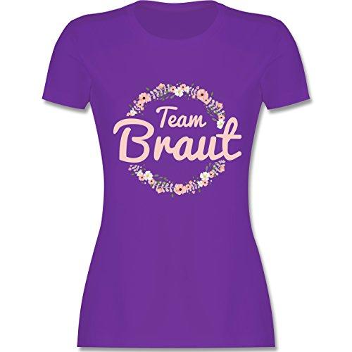 JGA Junggesellinnenabschied - Team Braut Blumenkranz rosa - M - Lila - L191 - Damen T-Shirt Rundhals