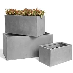 Artificielles - Jardiniere l 100 x 45 x h 45 cm fibre de terre gris fonce exterieur t3 - choisissezvotrehauteur: h 45 cm - lg 45 cm - l 100 cm