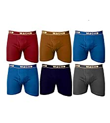 Macho Mens Long Cotton Fine Trunk Pack of 6 (Multi Color ) (Size :100 CM)