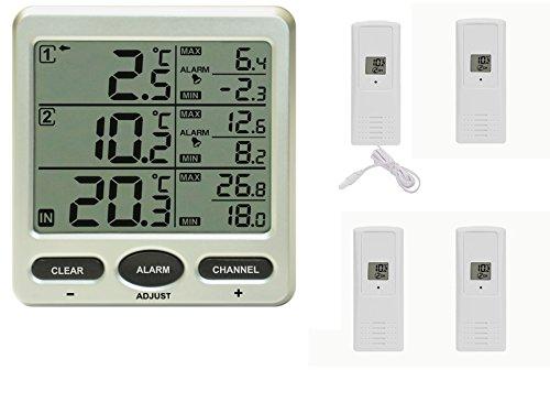 froggit Funk Thermometer FT0075 inkl. 4 Funksensoren (einer mit Kabelsonde) - LCD Display