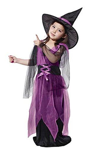 (BOZEVON Baby Hexen Kostüm für Kinder Halloween Partei Abendkleid Weihnachten Kostüm Mädchen Hexenkleid Cosplay)