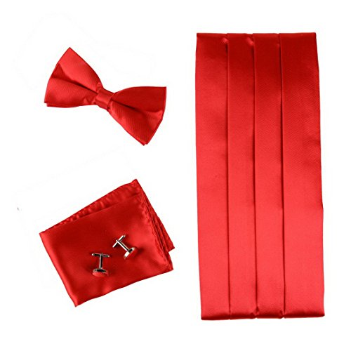 CM1016 Red Formal Pre-legato Bow Tie Hanky ??gemelli e Cummerbund Set Gift Box per uomini d'affari da Epoint