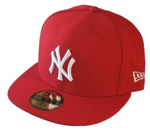 New Era Erwachsene Baseball Cap Mütze Mlb Basic NY Yankees 59Fifty Fitted Scarlet | Weiß