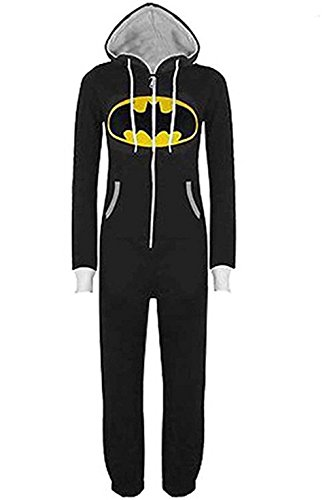 Jumpsuit Sleepsuit Superman & Batman mit Kapuze Pyjamas Kostüm Cosplay Homeware (Batman Onesies Für Erwachsene)