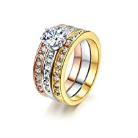 Bronze Silver and Gold Color Rings for Women, Size 8