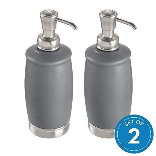 InterDesign York Liquid Soap Pump - Set of 2 Matte Gray and Brushed Nickel - Liquid Soap Set