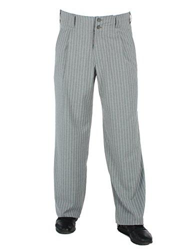 Grau Weiss gestreift Bundfalten-Hose im Stil der 50er Mode Rockabilly Männer Model Swing Größe 62