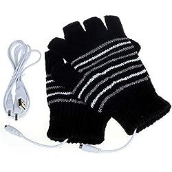 Unisex USB Alimenté Rayé Tricot Coton Chauffage Chauffe Gants Sans Doigts Chauffe-Mains Gants Moufles Ordinateur Portable Gants D'Hiver (Noir)