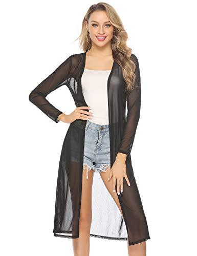 Abollria Damen Sommer Cardigan Leichte Lange Jacke Transparente Offene Strickjacke mit Seitenschlitze,Schwarz,M