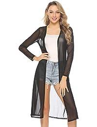 0e14fc4c2f Gilet Femme Longe Transparent Veste Longue Femme Leger Crochet Cardigan  Long Femme Lin Manches Longues Eté