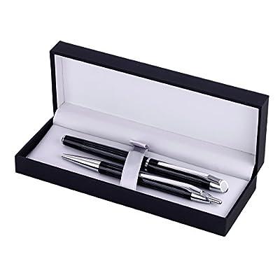 Inoxcrom Pure Diplomat - Juego de bolígrafo y pluma, color negro