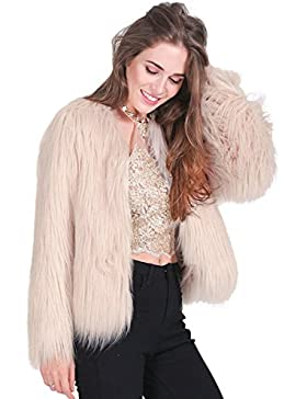 Simplee Apparel Damen Winter Warme Elegant Luxuriös Kunstfell Dick Fell Mantel Weiß Beige Schwarz Rosa