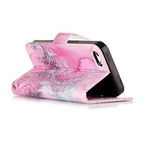 Coque iPhone 5S, Etui iPhone 5, BONROY® PU Cuir Flip Housse Étui Cover Case Wallet Portefeuille Fonction Support Avec des Cartes de Crédit Slot et Fonction Support pour pour iPhone SE 5S 5 mer rose